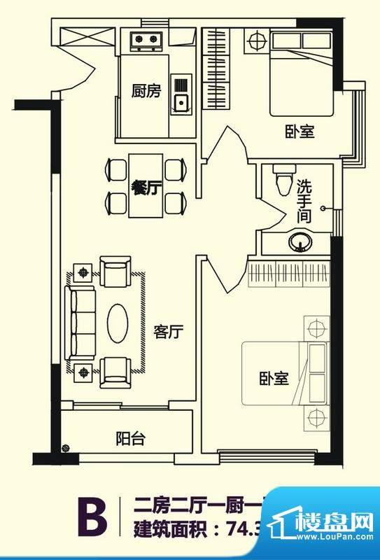 义方家园商务公寓标面积:74.30平米