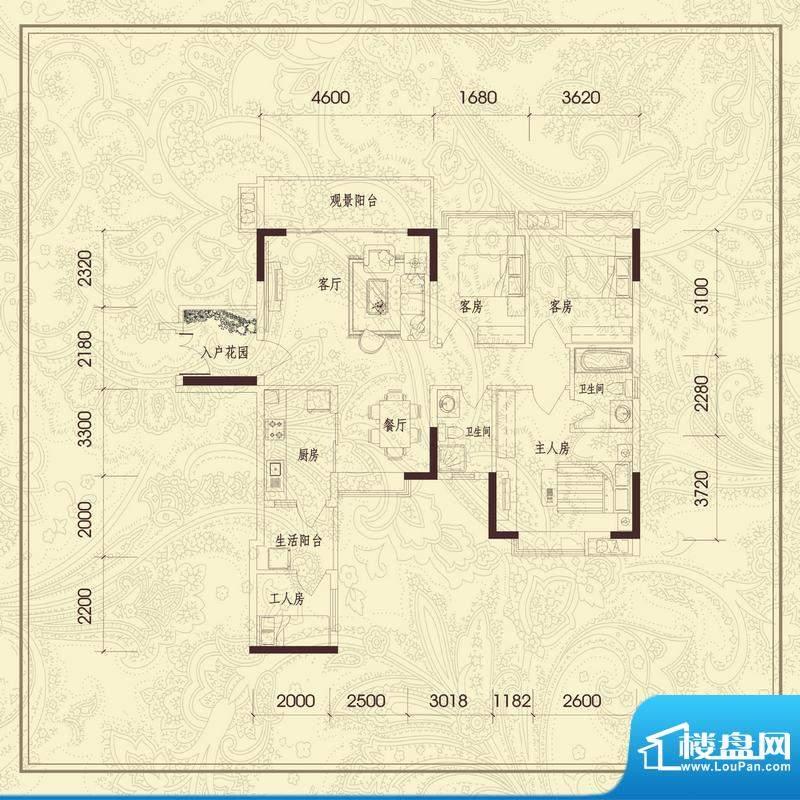 义方家园四房户型图面积:117.65平米