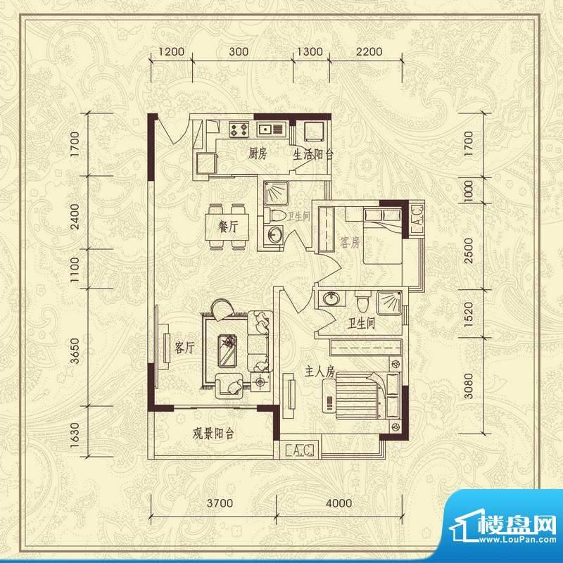 义方家园二房户型图面积:88.76平米