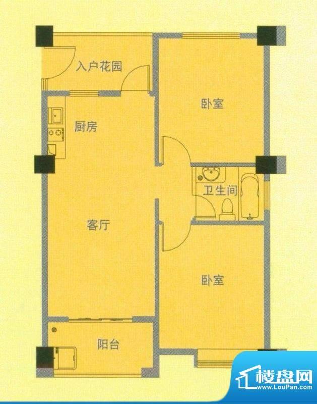 南洋广场A户型 2室1面积:75.00平米