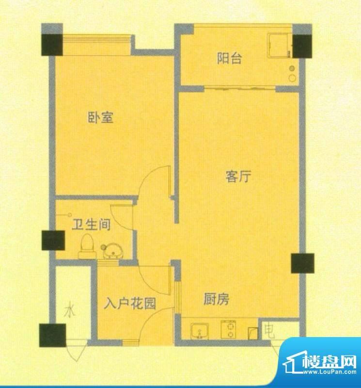 南洋广场B户型 1室1面积:60.00平米