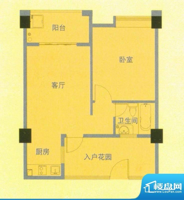 南洋广场D户型 1室1面积:65.00平米