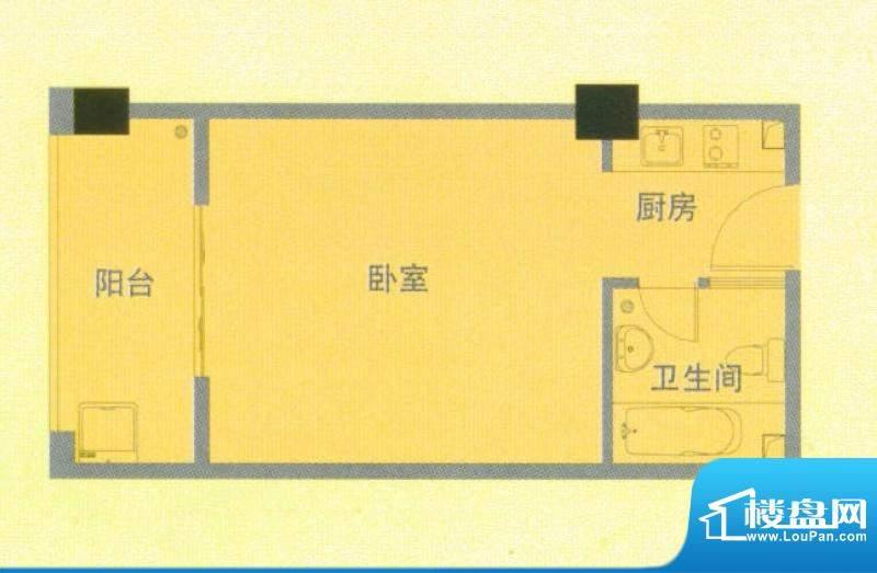 南洋广场E户型 1室1面积:40.00平米