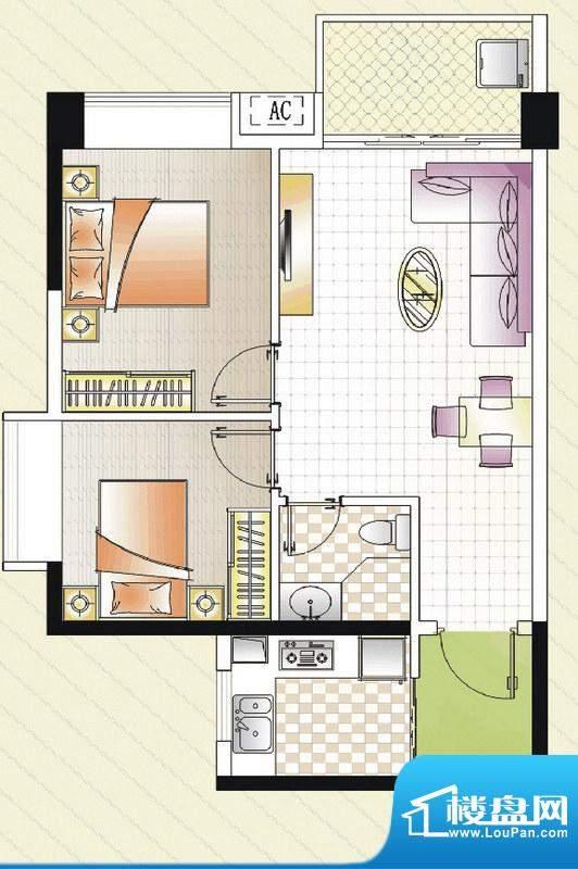 汇景湾E户型 2室1厅面积:71.00平米
