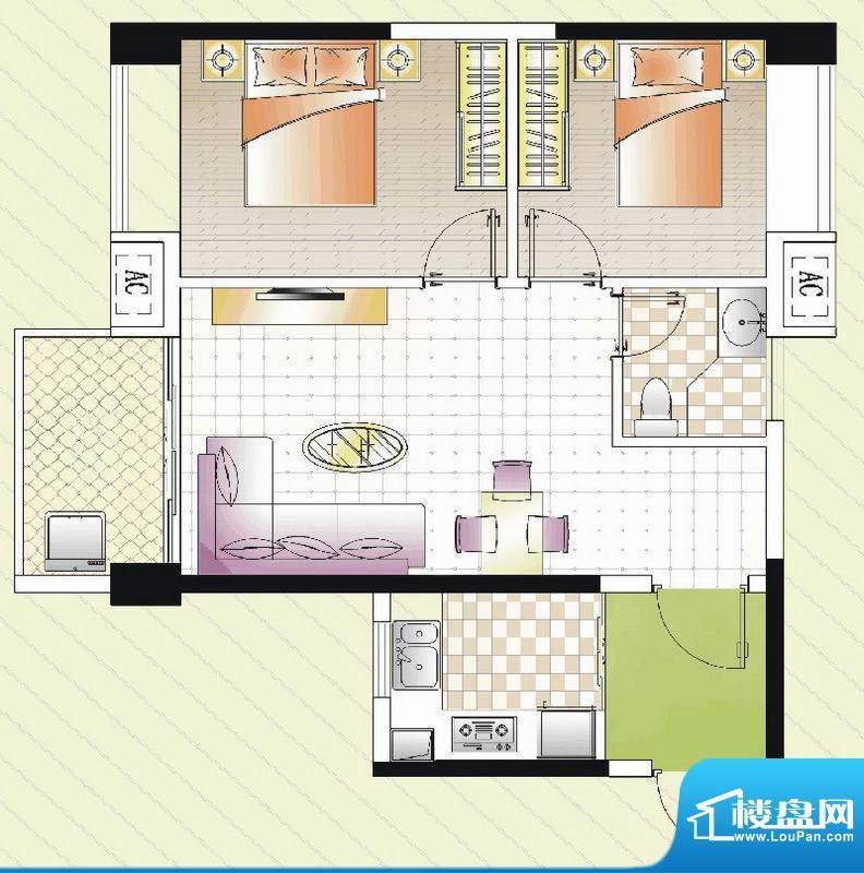 汇景湾D户型 2室1厅面积:74.00平米