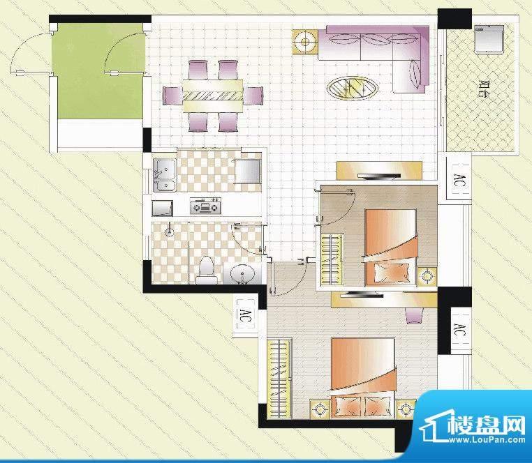 汇景湾B1户型 2室1厅面积:82.00平米