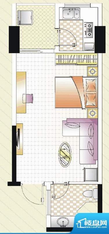 汇景湾C户型 1室 47面积:47.00平米