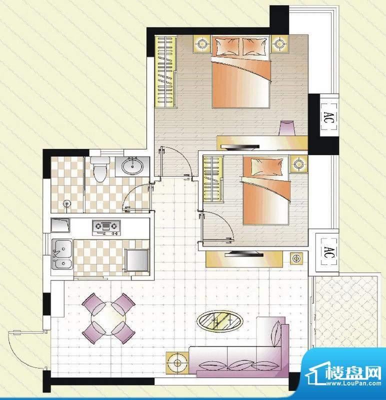 汇景湾B户型 2室1厅面积:74.00平米