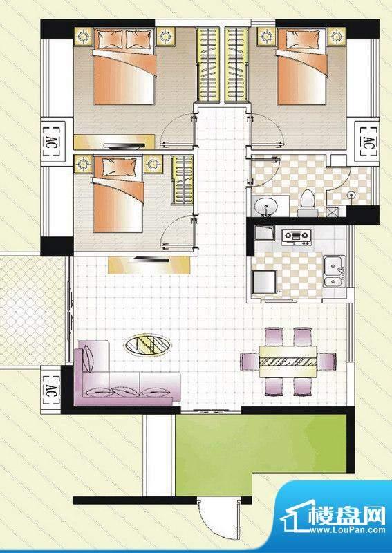 汇景湾A户型 3室1厅面积:95.00平米
