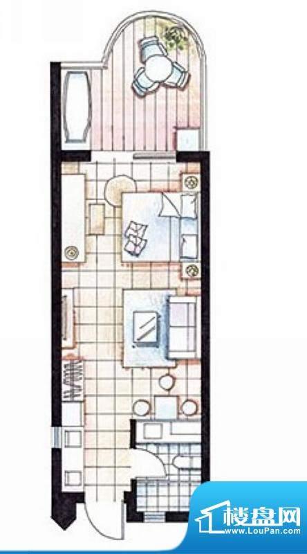 平海逸龙湾8E型 1室面积:53.00平米