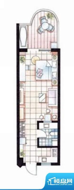 平海逸龙湾9E型 1室面积:58.00平米