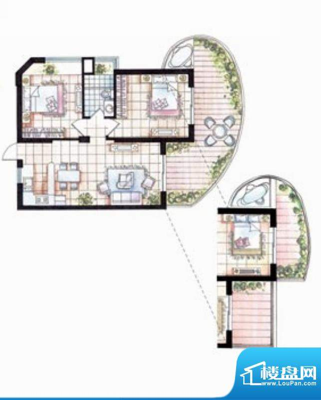平海逸龙湾9F型 2室面积:100.00平米