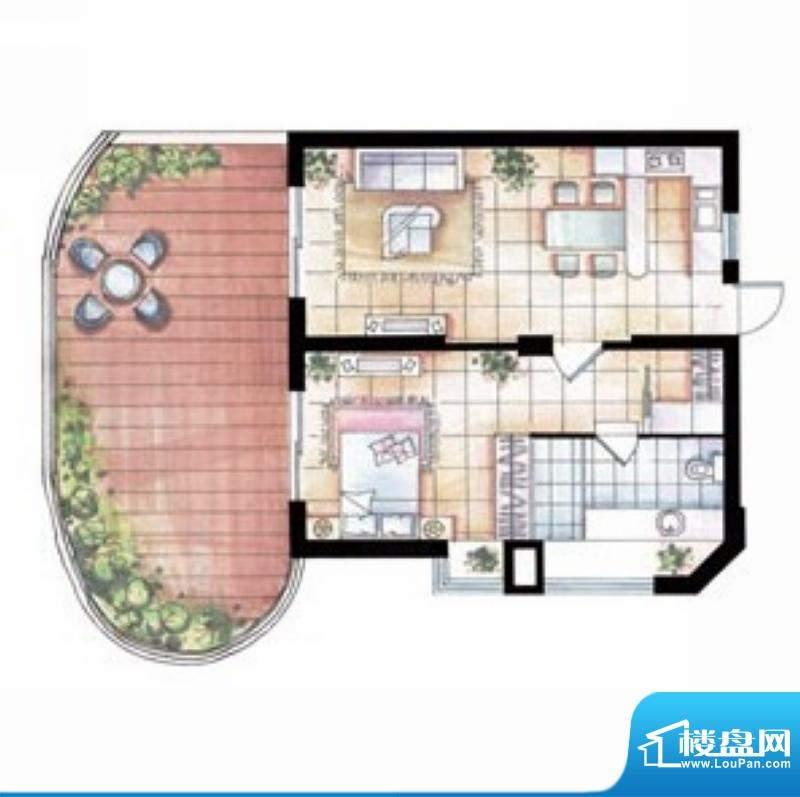 平海逸龙湾9J型 1室面积:84.00平米