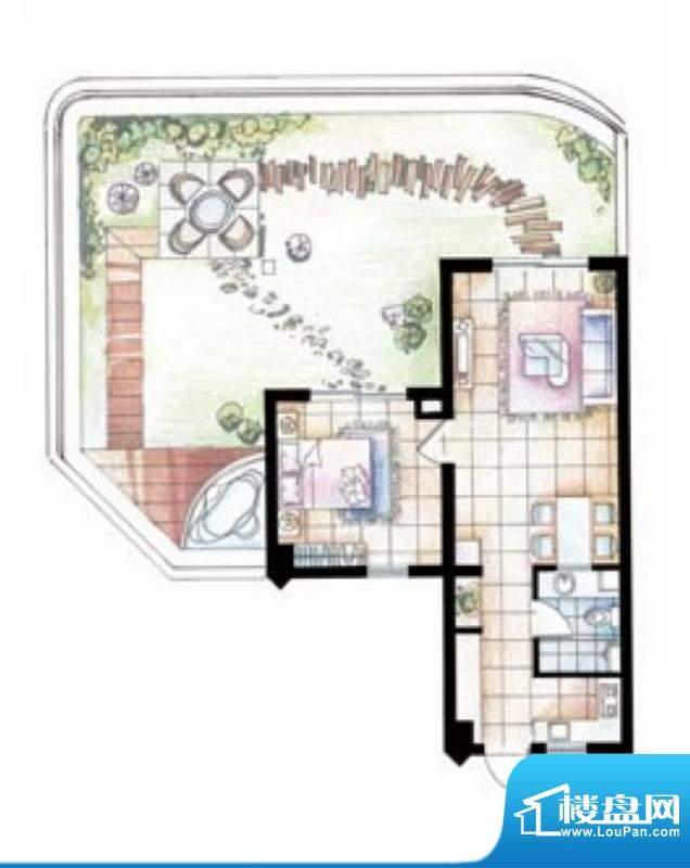 平海逸龙湾9M型 1室面积:80.00平米