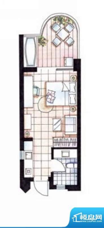 平海逸龙湾19D型 1室面积:45.00平米