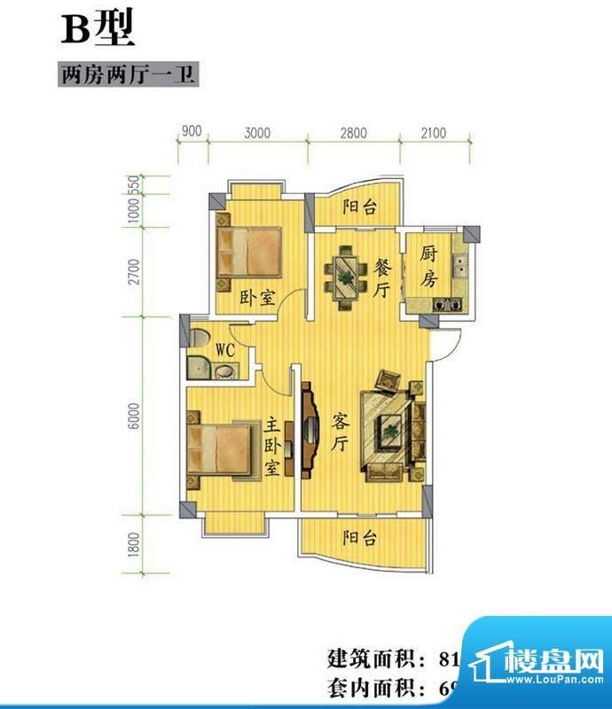 鸿信雅苑B户型 2室2面积:81.40平米