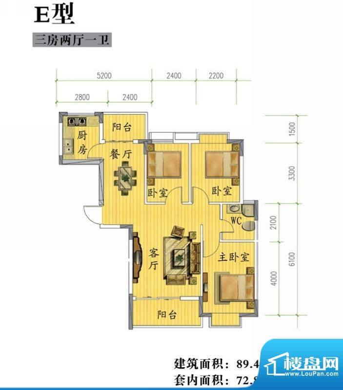 鸿信雅苑E户型 3室2面积:89.45平米