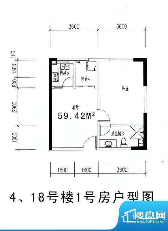 伊比亚河畔4#18#号楼面积:59.42平米