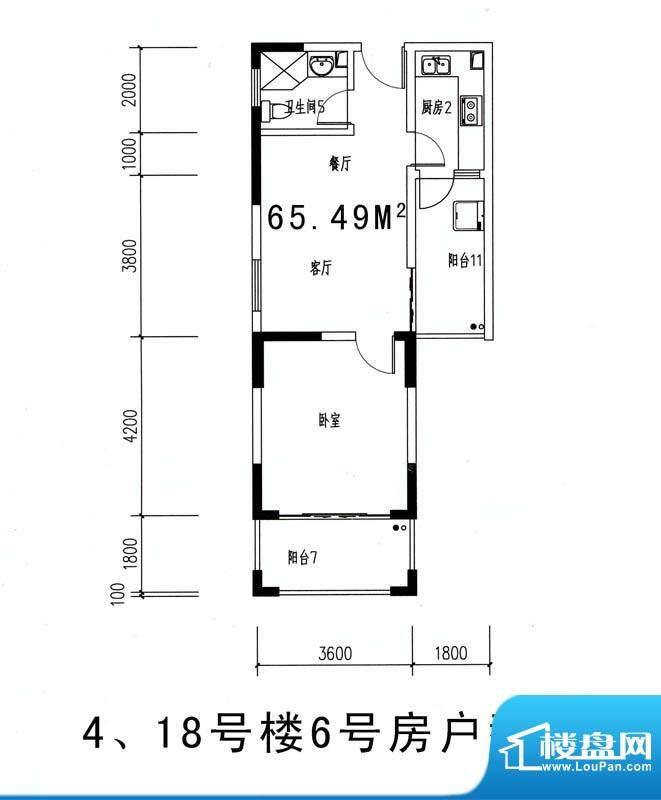 伊比亚河畔4#18#号楼面积:65.49平米