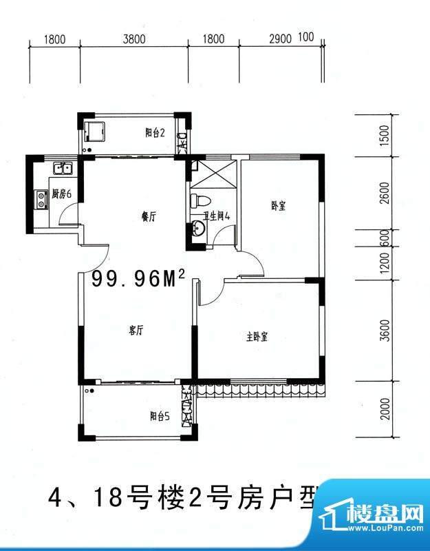 伊比亚河畔4#18#楼2面积:99.96平米