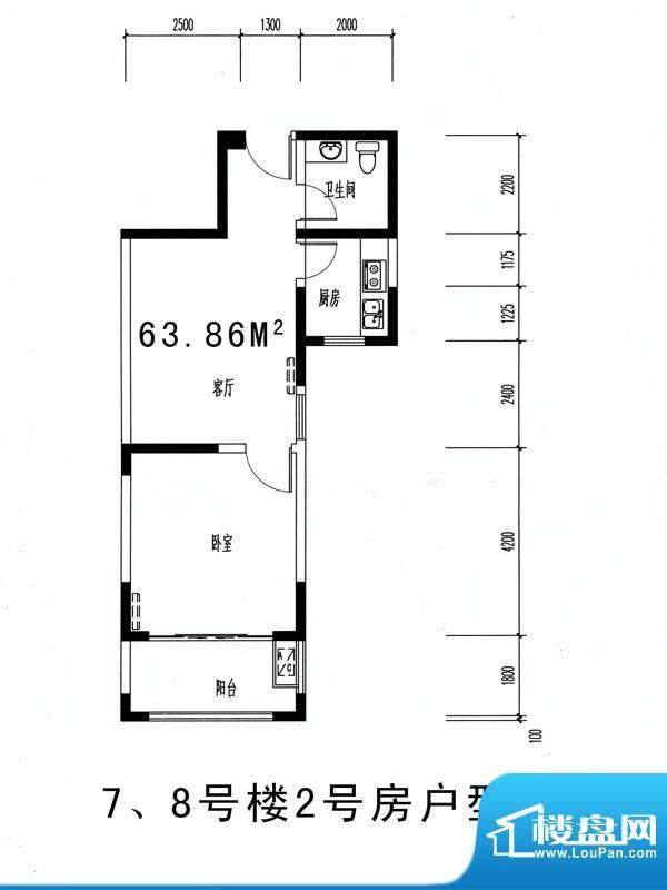 伊比亚河畔8#楼2号房面积:63.86平米