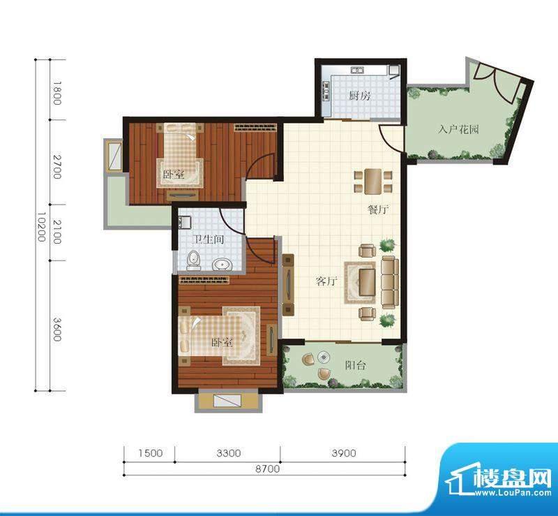 博海悠度湾C户型图 面积:85.24平米
