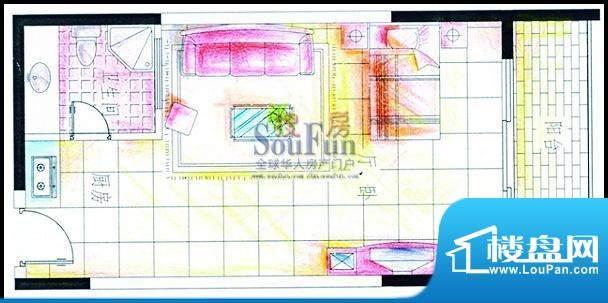 博海悠度湾户型图 1面积:48.32平米