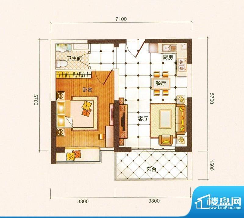 御景龙庭A1户型图 1面积:59.88平米