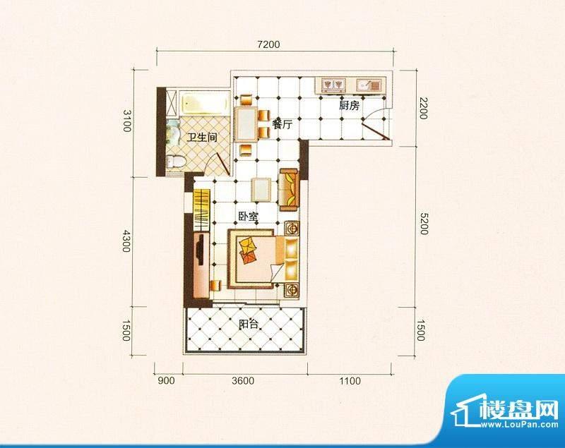 御景龙庭A2户型图 1面积:44.10平米