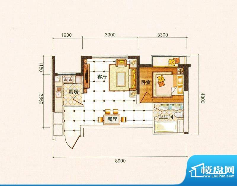 御景龙庭A3户型图 1面积:51.83平米
