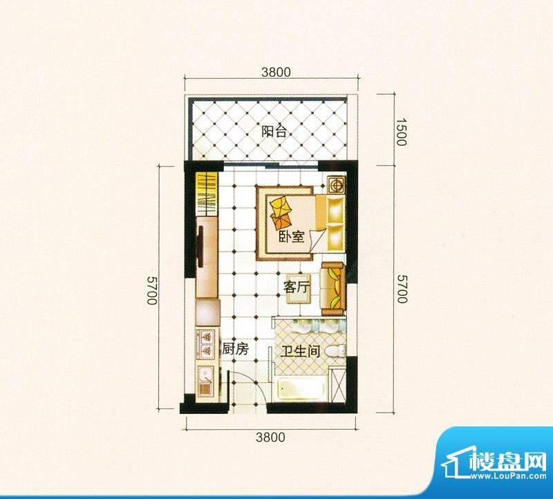 御景龙庭A4户型图 1面积:30.43平米