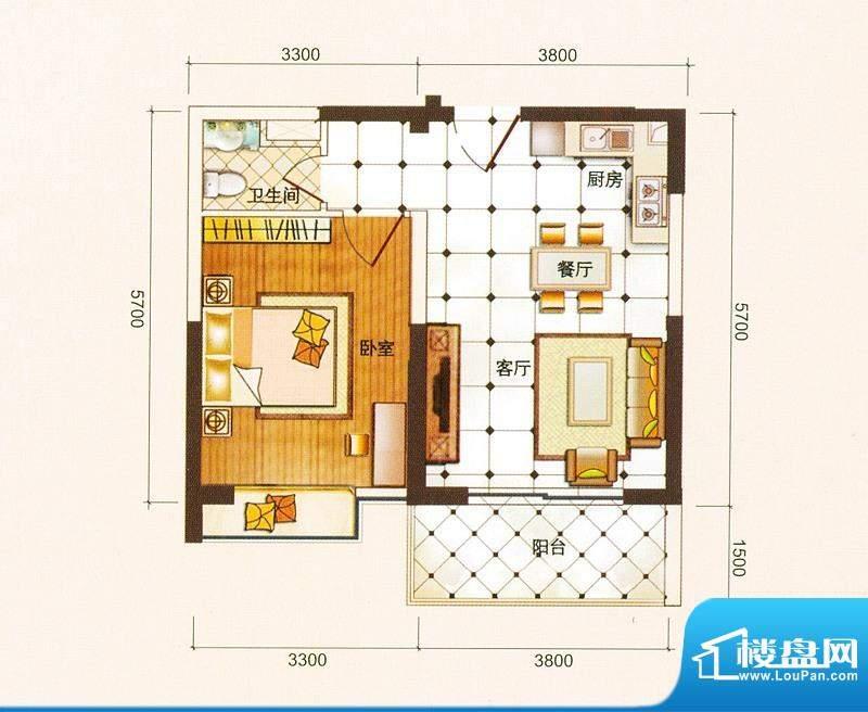 御景龙庭A5户型图 1面积:59.09平米