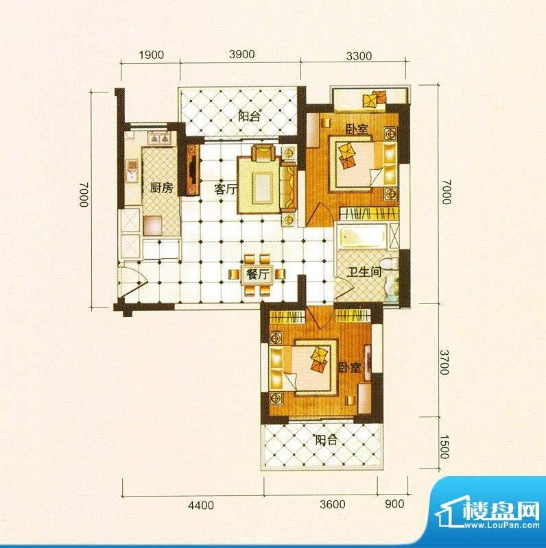 御景龙庭B户型图 2室面积:90.12平米