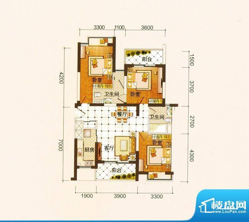 御景龙庭C户型图 3室面积:119.61平米