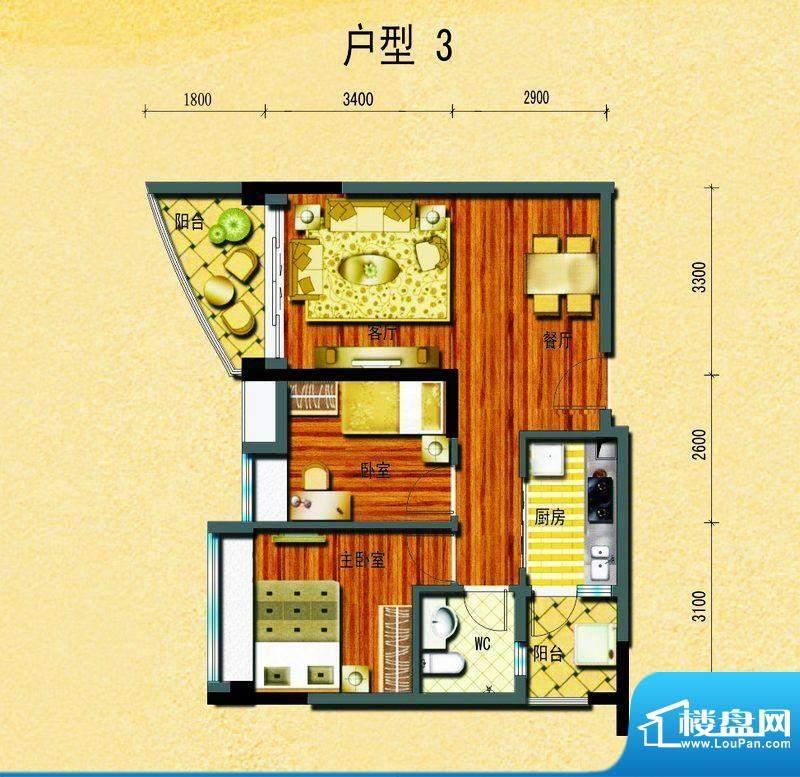 碧桂园椰城户型3 2室面积:68.59平米
