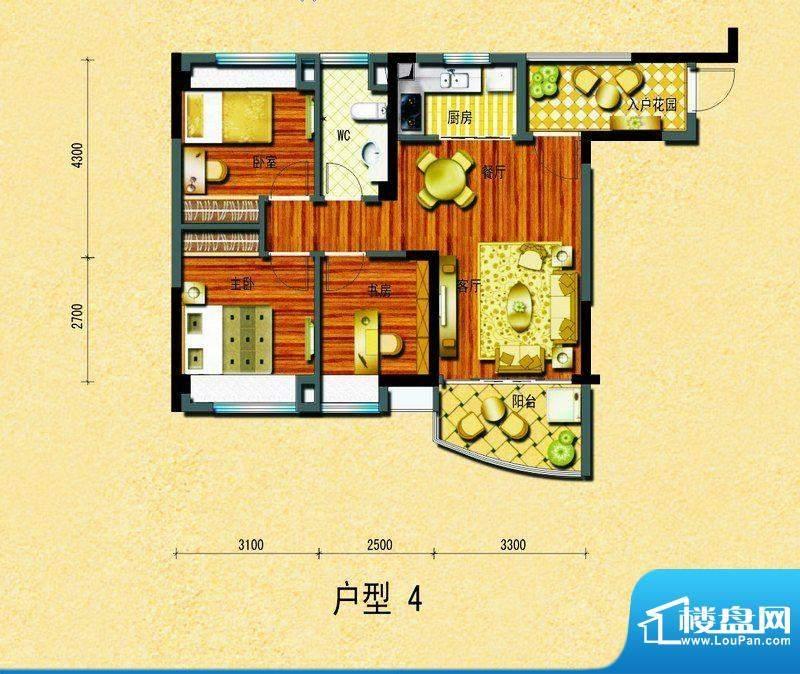 碧桂园椰城户型4 3室面积:78.06平米