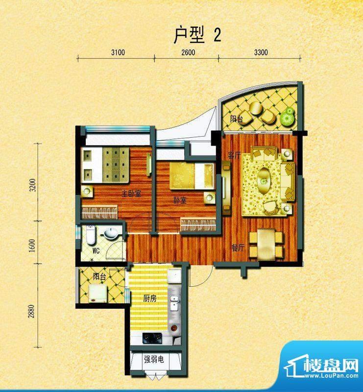 碧桂园椰城户型2 2室面积:69.73平米