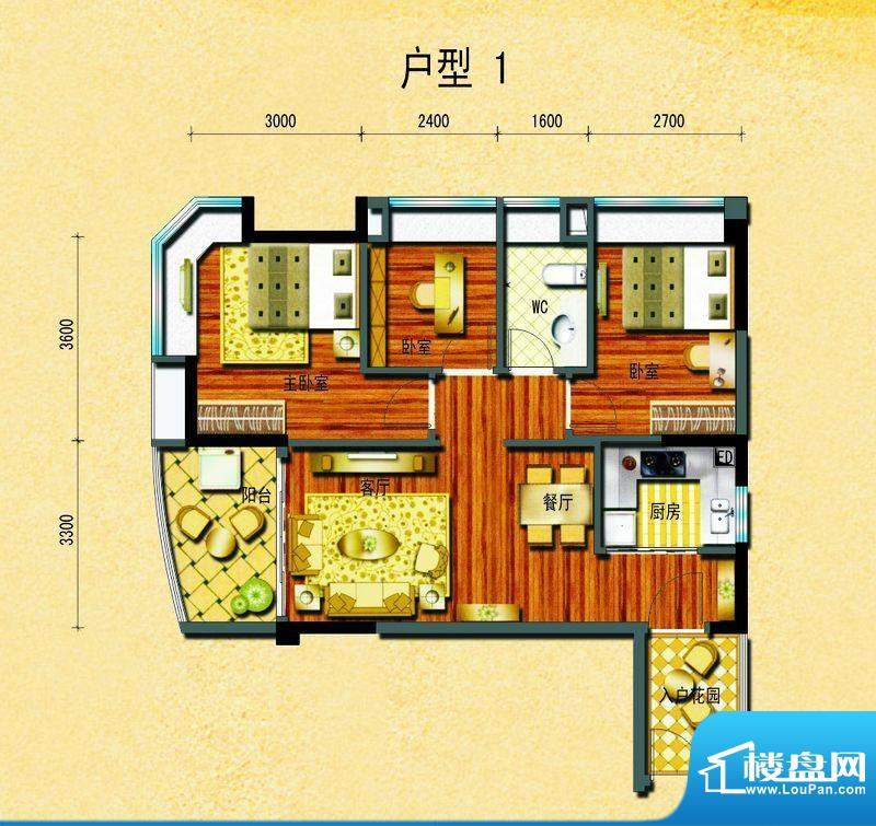 碧桂园椰城户型1 3室面积:83.50平米