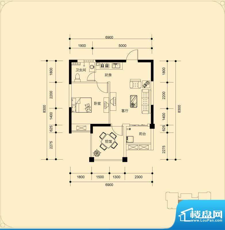 蓝湖海韵C-3户型 1室面积:51.97平米