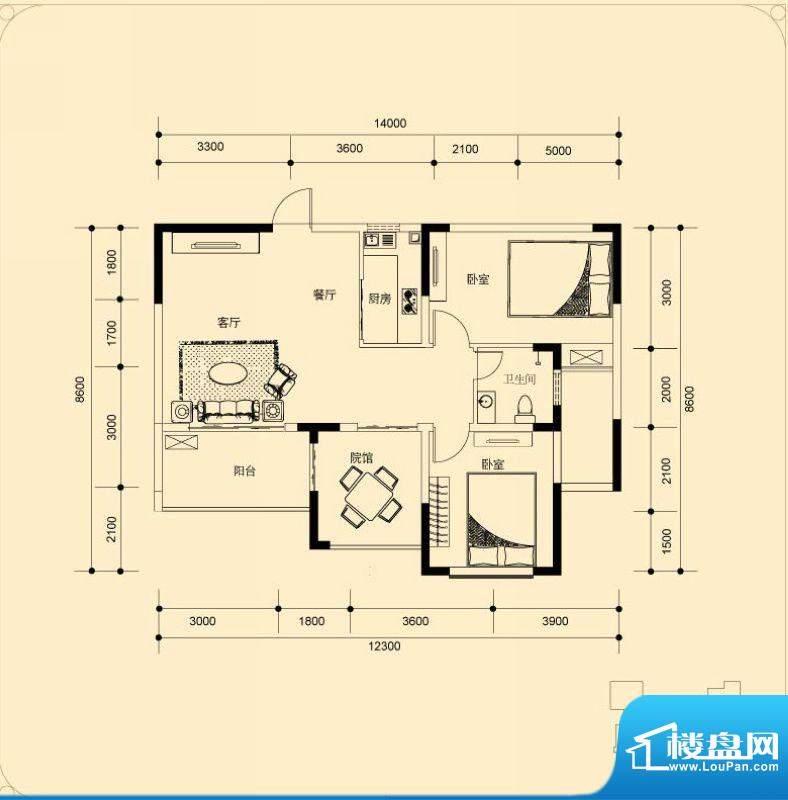 蓝湖海韵B-5户型 2室面积:90.58平米