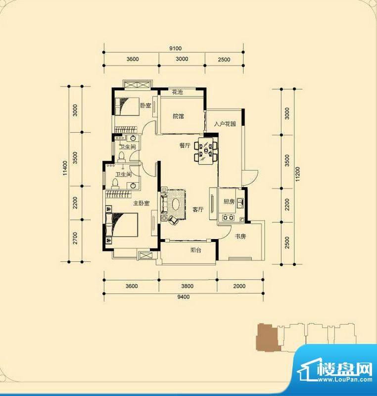 蓝湖海韵H-1户型 3室面积:100.29平米