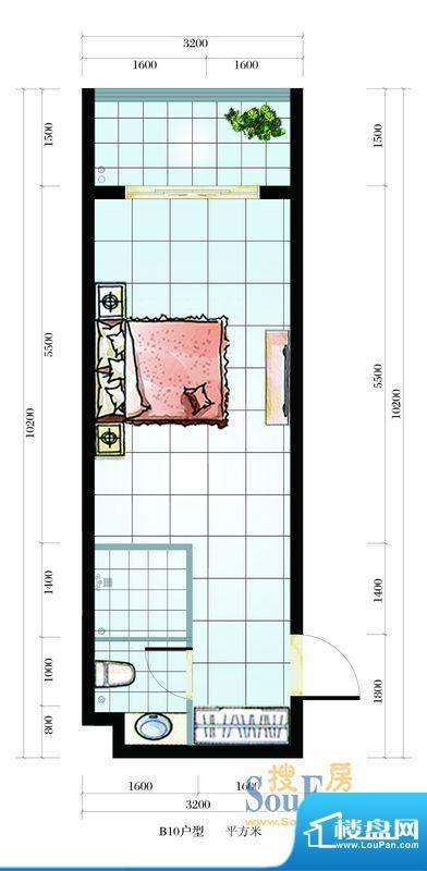 海韵东岸B10户型 1室面积:37.53平米