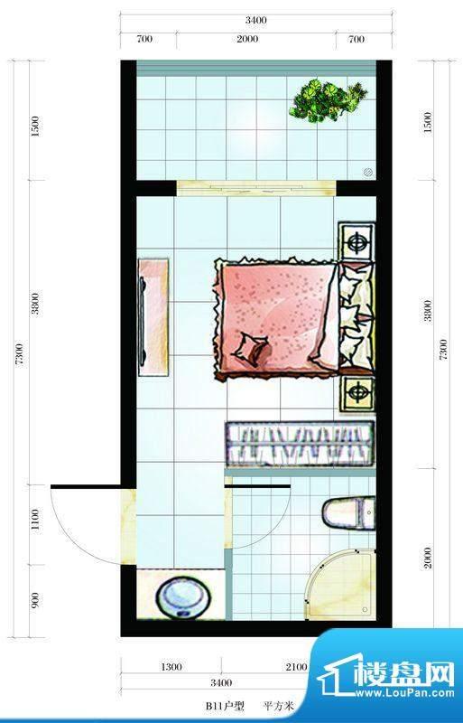海韵东岸B11户型 1室面积:25.32平米