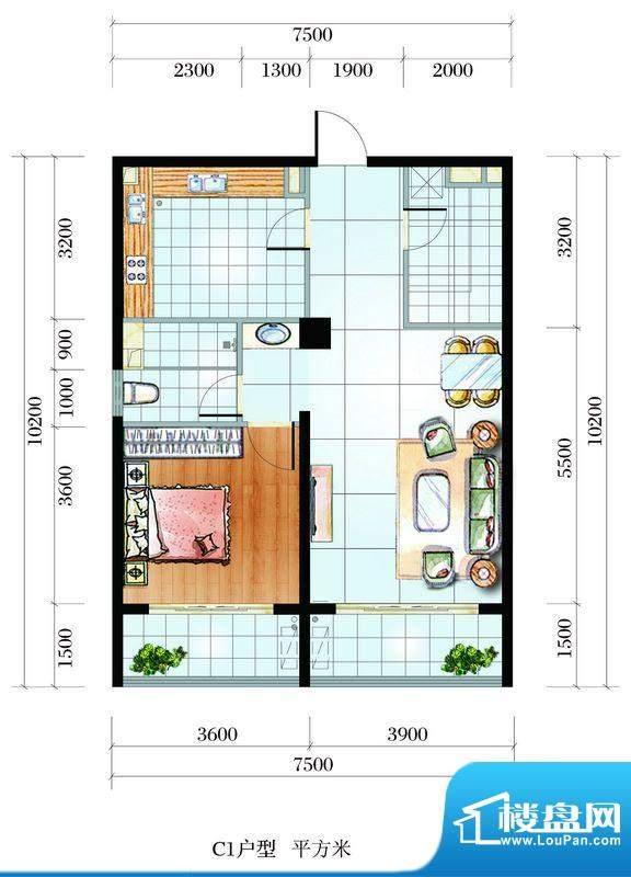 海韵东岸C1户型 2室面积:86.66平米