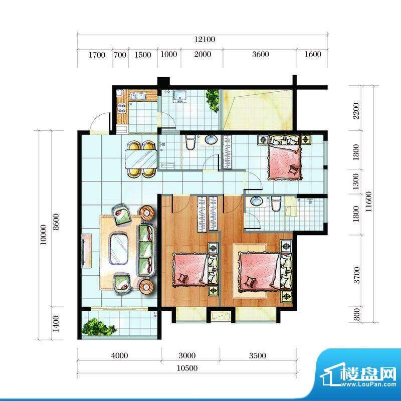 海韵东岸C2户型(合成面积:135.09平米