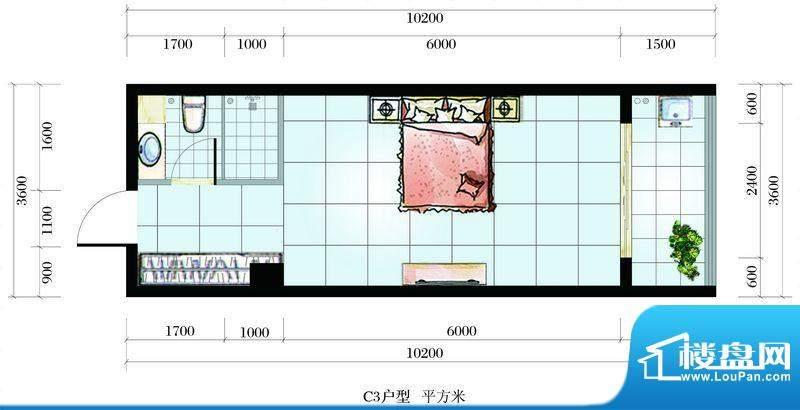 海韵东岸C3户型 1室面积:42.74平米