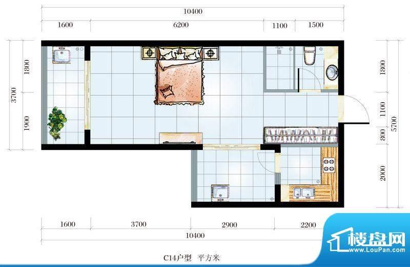 海韵东岸C14户型 1室面积:0.00平米