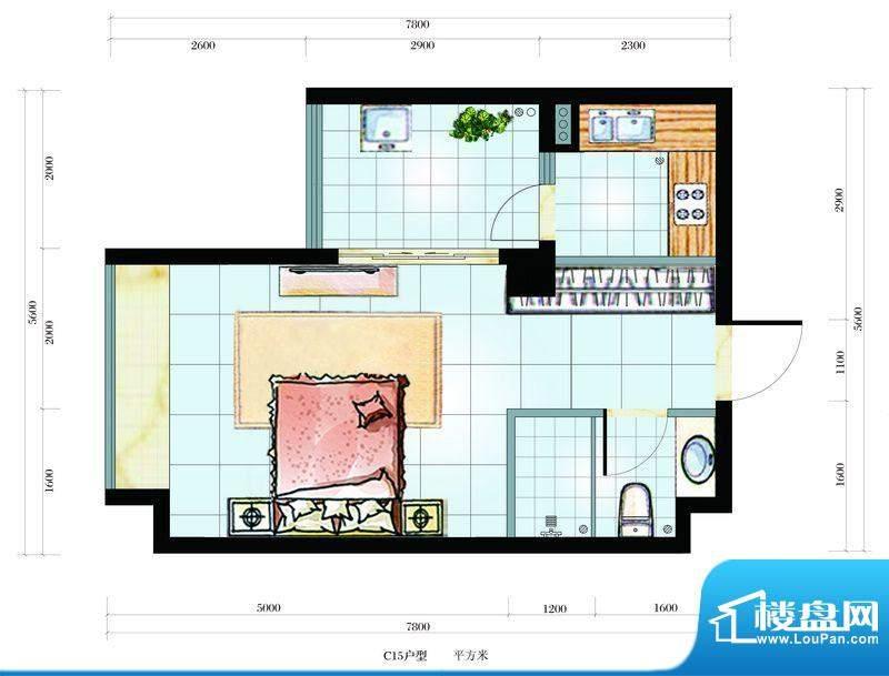 海韵东岸C15户型 1室面积:41.17平米