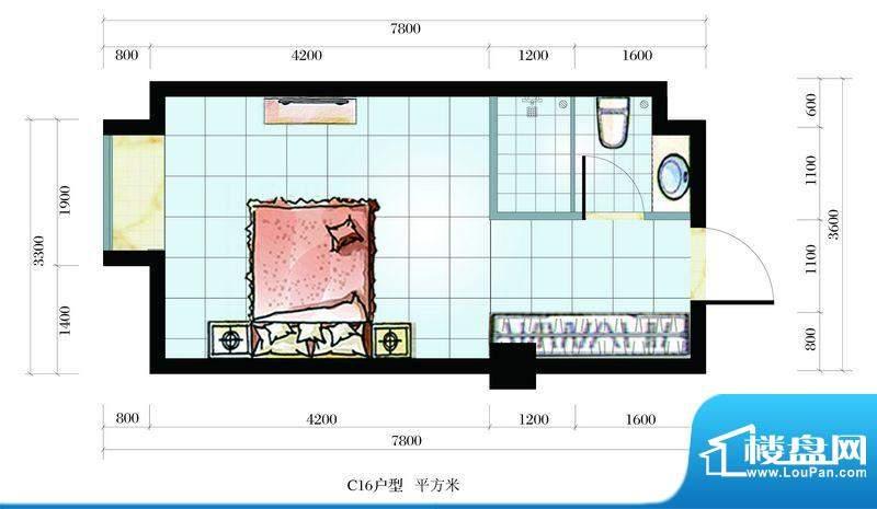 海韵东岸C16户型 1室面积:25.65平米