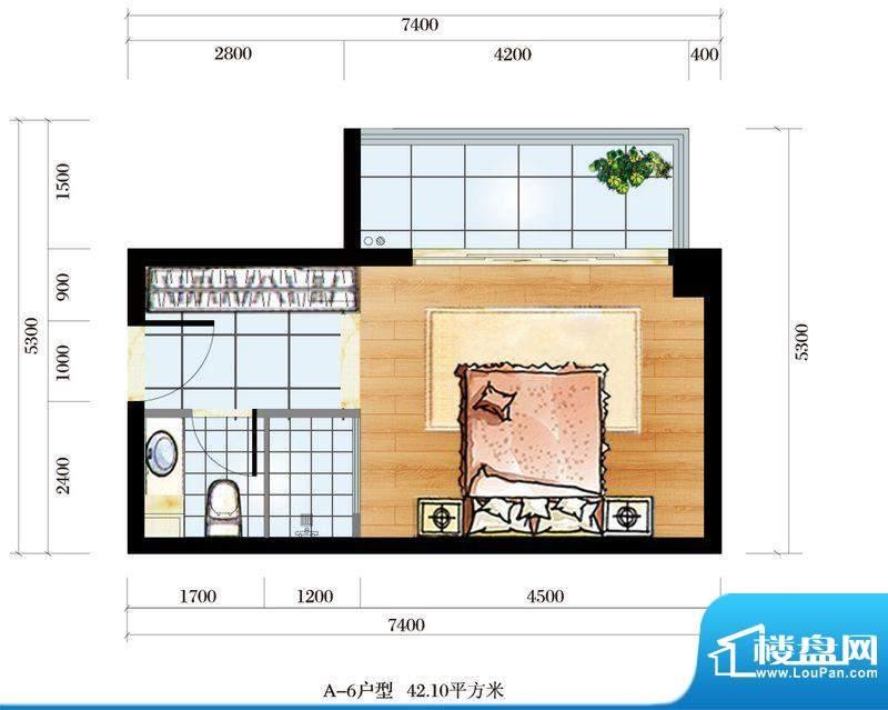海韵东岸A6户型 1室面积:42.10平米